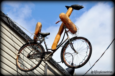 bread shop bike in air